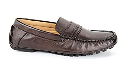Calvin Klein Mens Shoes Dressy Mocassin Loafers Dante Soft Leather F0014 D Brown (10)