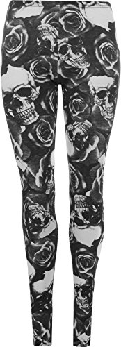 WearAll Women's Plus Size Skull Pirate Print Ladies Long Leggings - Black - US 16-18 (UK 20-22)