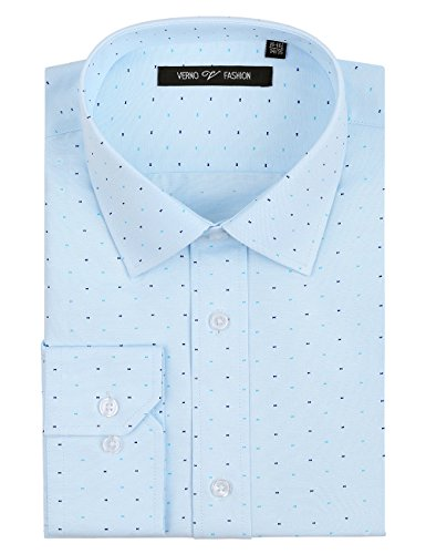 Verno Fashion Men's Printed Bow Tie Classic Fit Long Sleeve Dress Shirt- Available in More Colors (19-19 1/2-36/37, Light (Printed Convertible Dress)
