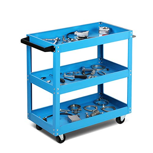 Magshion 3-Tier Heavy Duty Workshop Service Tool Cart Organizers Garage Storage Mechanic Utility Trolley