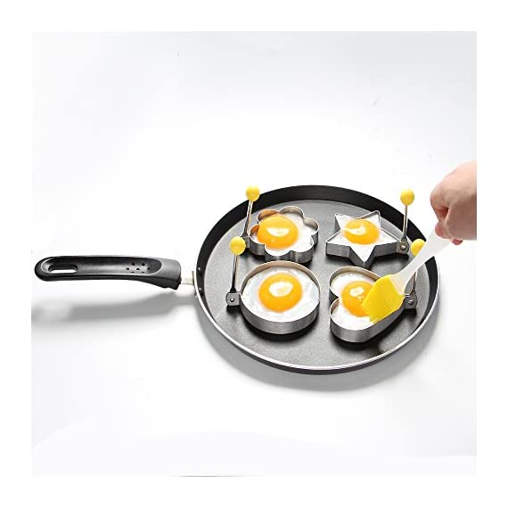 ShengHai Fried Egg Mold Ring Pancake Cooker, Nonstick Stainless Steel Egg Form for Frying Cooking, Set of 4 With 1 Free Silicone Brush 2 ENJOY A COLORFUL BREAKFAST - 4PCS Different Shapes Fried Egg Ring Set: heart; Star; Round and Plum Flower. Avoid boring. Special design for cooking eggs or pancakes for your lover as well as your family. Cute for Fun Food - You can make pancake or egg more interesting with funny shapes. Good for the picky eater especially kids. HIGHER QUALITY: Made of food grade stainless steel. You can also use the egg and pancake molds to make any delicacy you can think about, such as cookies, dessert, jelly, pastry, chapatti. Just have them and get your imagination started!