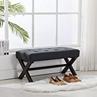 Guyou Upholstered Bedroom Benches, PU Leather Bed Side Ottoman with X-Shaped Espresso Wood Legs for Patio/Bedroom/Living Room/Dining Room/Hallway (Charcol)