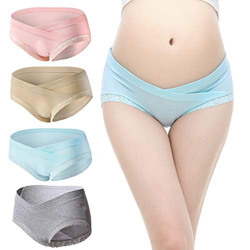 Slimart 4 PCS Cotton Maternity Pregnant Mother Panties Lingerie Briefs Underpants Underwear (Large (fits Like US Small), 4 Pack(Pink/Blue/Beige/Grey))