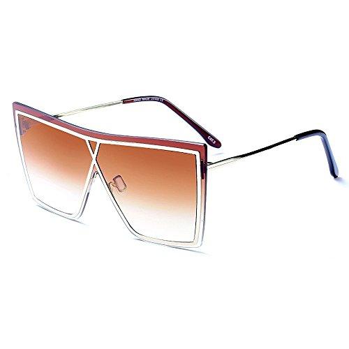 gafas sol verano marco las Marrón Irregular conducir gafas de sin Gu Gris libre conjoined de de de aire Color decoración playa Peggy sol protección metal lente UV para mujeres al vacaciones qzOPxFw