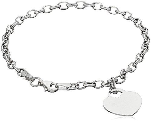 "14k White Gold Flat Heart Rolo Charm Bracelet, 7.25"""
