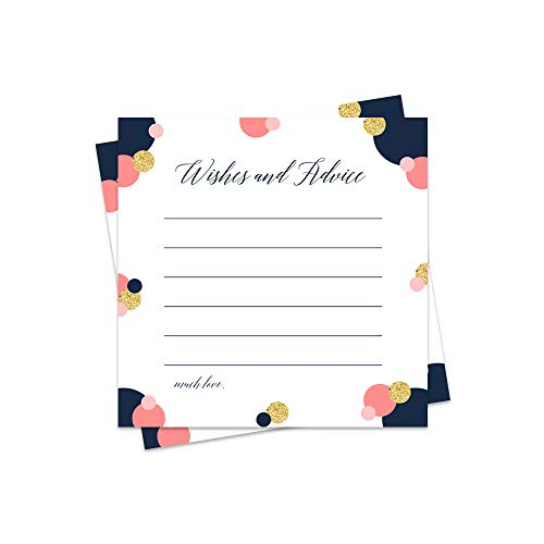 Modern Advice and Wishes Cards - Pack of 25 - Navy, Coral, Gold -