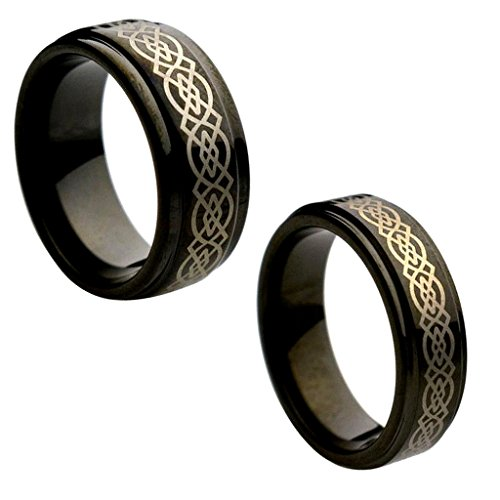 Celtic Wedding Ring Sets - Wedding Band Ring Set For Him & Her 9MM/7MM Tungsten Carbide Step Edge Black Enamel Celtic Knot design Center