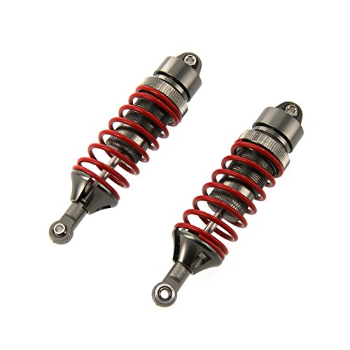 Atomik RC Traxxas E-Revo 1:10 Aluminum Alloy Adjustable Front/Rear Shock Set Hop Up Upgrade, Grey/Gun Metal Replaces Traxxas Part 5460X