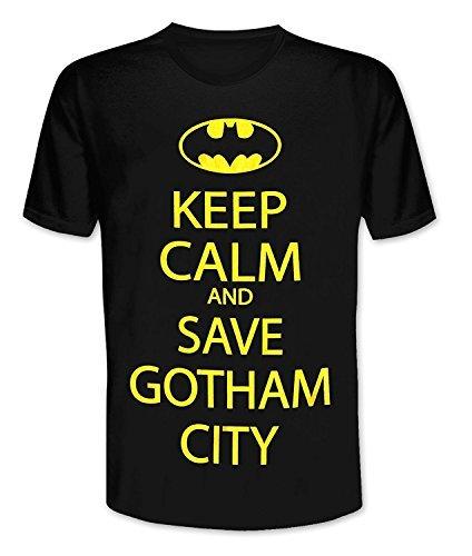 Batman - Keep Calm and Ahorro Ciudad Gótica - Camiseta Oficial Hombre - Negro, Small