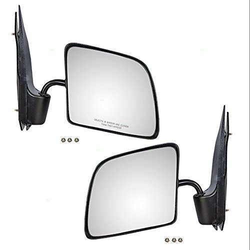 Driver and Passenger Manual Side View Mirrors Swing Lock Paddle Type w/Flat Glass Replacement for Ford Van F4UZ17683A F4UZ17682A