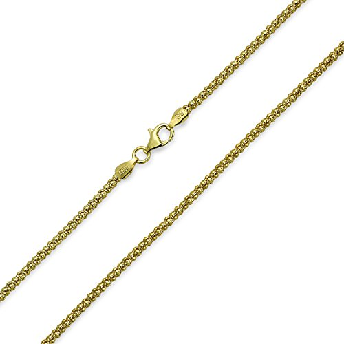 (Bali Style Popcorn Coreana Chain Black Oxidized 14K Gold Plated Sterling Silver 030 Gauge Made In Italy 16)