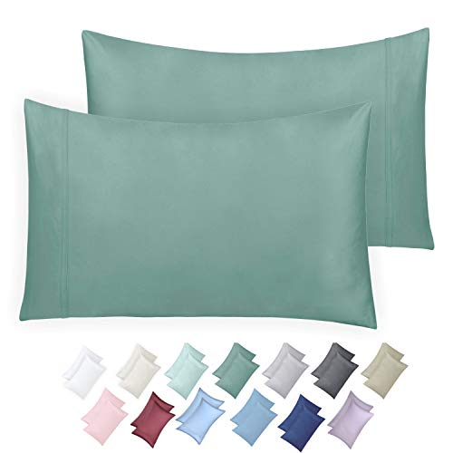 600 Thread Count 100% Cotton Pillow Cases, Sage Standard Pillowcase Set of 2 for Kids & Adults, Long - Staple Combed Pure Cotton Pillows for Sleeping, Soft & Silky Sateen Weave Bed Pillow Covers ()