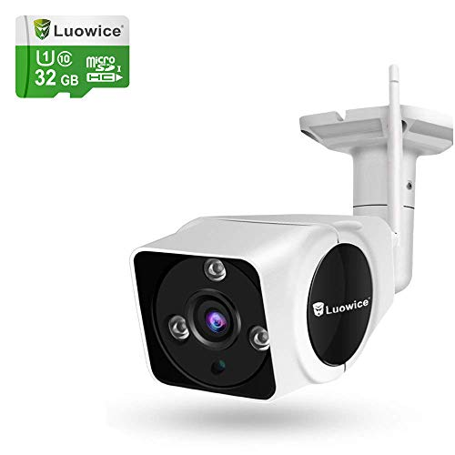 Luowice 1080P WiFi Camera Outdoor Wireless Security Camera with Intercom Function 2MP IP Camera 100ft Night Vision and Built-in 32G Micro SD Card IP66 Waterproof