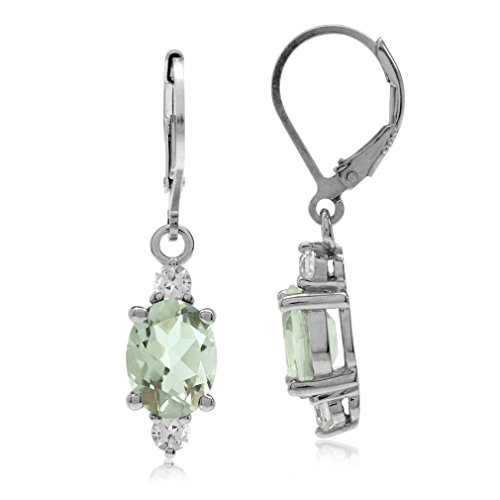 3.28ct. OV 9x7 Natural Green Amethyst & Topaz Gold Plated 925 Sterling Silver Leverback Earrings