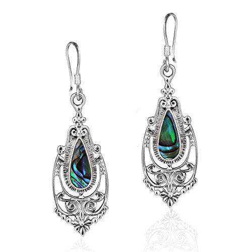 (Victorian Style Teardrop Abalone Shell Inlay .925 Sterling Silver Dangle)