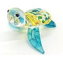 HAND BLOWN Art Glass,Sea Turtle Miniature Animals Collection, Dollhouse Miniatures,Turtle Art Glass Blown,By Audomna Shop.(N0053)
