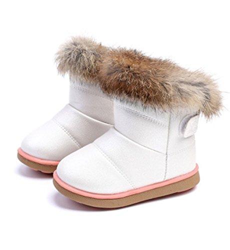 DUSISHIDAN 2017 New Fur Kid's Snow Boots PU Warm Anti-Skid Shoes Baby Toddler Girl Winter Boots White Pink Rose