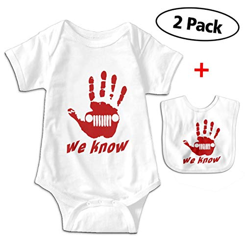 We Know Jeep Hand Palm Newborn Infant Baby Boys Girls Romper Bodysuit Short Sleeve Outfit Clothes One-Piece White