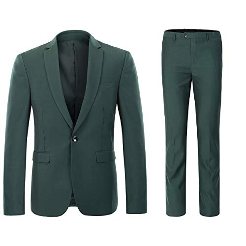 YFFUSHI Mens One Button Formal 2 Piece Suits Slim Fit Multi-Color Wedding Tuxedo Dark Green