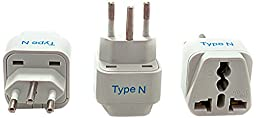 Ceptics Brazil Travel Plug Adapter (Type N) - 3 Pack [Grounded & Universal]