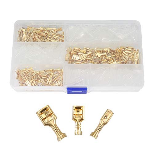 Maxmoral 150pcs Brass Crimp Terminal Connector with Insulating Sleeves Assorted Kit Cold-Pressed Terminal 2.8mm 4.8mm 6.3mm Female Spade Connector Gold