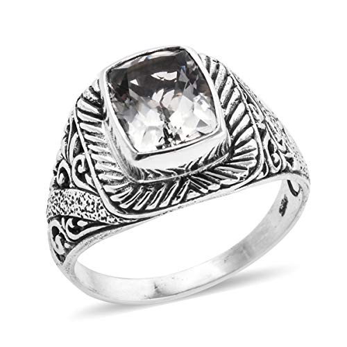 Solitaire Ring 925 Sterling Silver Cushion Green Amethyst Jewelry for Women Size 8 Ct 2.3 ()
