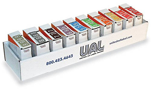 United Ad Label Starter Kit for Numeric File Folder Labels -Tab 1282 Compatible, 1-1/4'' x 1'', Assorted - 5000 Label Per Roll