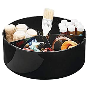 mDesign Deep Plastic Lazy Susan Turntable Storage Organizing Container – Divided Spinning Organizer for Craft, Sewing, Art, School Supplies in Home, Office, Classroom, Playroom or Studio