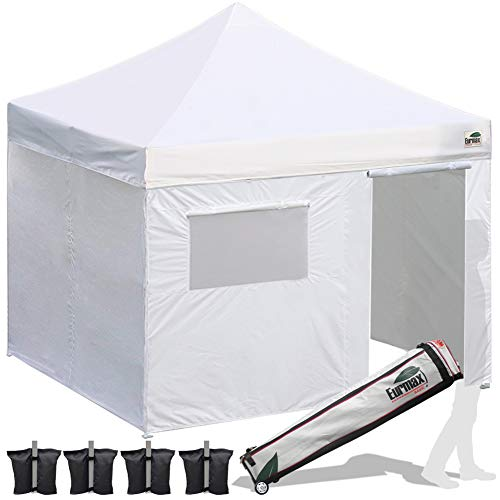 Eurmax 10x10 Ez Pop Up Canopy Outdoor Canopy Instant Tent 4 Zipper Sidewalls Roller Bag,Bouns 4 Weight Bags(White)