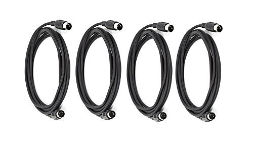 eDragon 4 Pack MIDI Cable with 5 Pin DIN Plugs, 10 Feet, - Black by eDragon