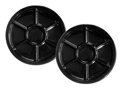 Party Essentials Soft Plastic 12-Inch Round Divided Catering Trays, Black, 2-Pack