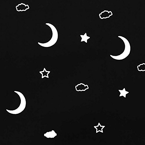 Full Blackout Curtains for Bedroom - Thermal Insulated Nursery Essential Starry Night Sleep-Enhancing Ring Top Drape Primitive Moon and Star Window Treatment for Kid's Room (1 Panel, 52 x 63 Inch)