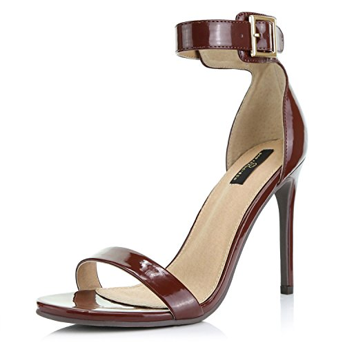 Brown Patent Platform - DailyShoes Women's Fashion Open Toe Ankle Buckle Strap Platform High Heel Casual Sandal Shoes, Brown Patent Leather, 8 B(M) US