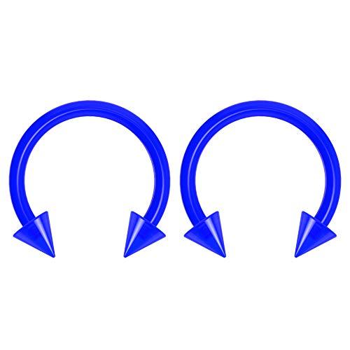 2pc 14g Dental-Grade Clear Acrylic Blue Horseshoe Hoop 4mm Spike Circular Barbells Earrings Cartilage Helix Septum Nose Lip Rings - 10mm