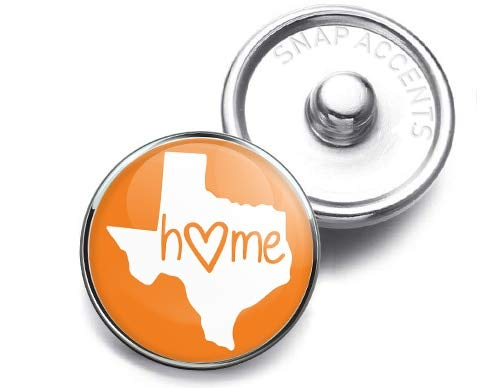 Choose a Color | Texas Home Heart Snap Jewelry 18MM SnapAccents Charm Button -