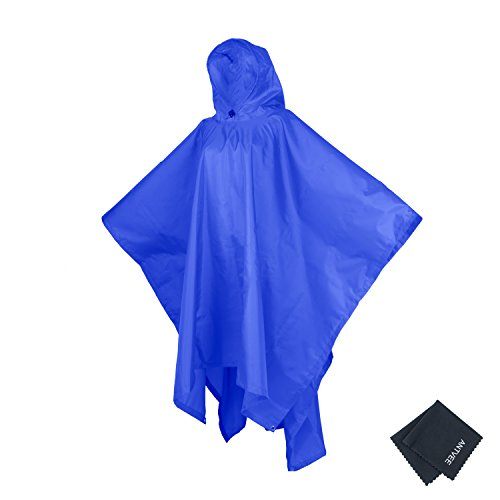 Nylon Rainwear Poncho - Rain Poncho for Adults - outdoor blanket - Emergency Shelter - 3 in 1 Raincoat for Hiking, Backpacking, Camping or Traveling (Blue)