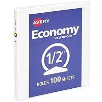 """Avery 0.5 """"Economy View 3 Ring Binder, anillo redondo, contiene papel de 8.5"""" x 11 """", 1 carpeta blanca (5706)"""