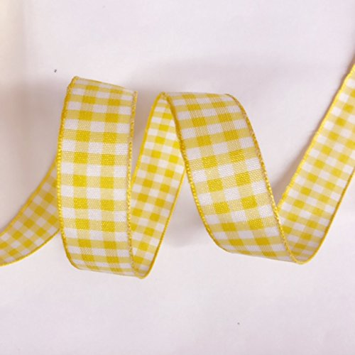 5/8'' Wide Classic Checkered Ribbon, Cotton ribbon Selling Per Roll/25 yards Color Yellow with - Ribbon Yellow White And