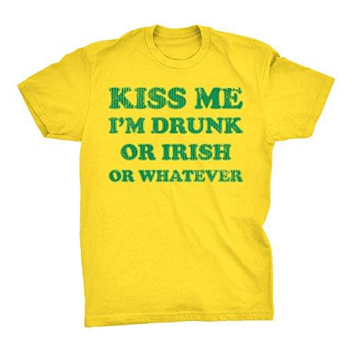 (ShirtInvaders Kiss Me I'm Drunk Or Irish Or Whatever -002- ST Patricks Day T-Shirt - Yellow)