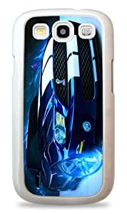 417 Flaming Blue Cobra Mustang - White Silicone Case for Samsung Galaxy S3