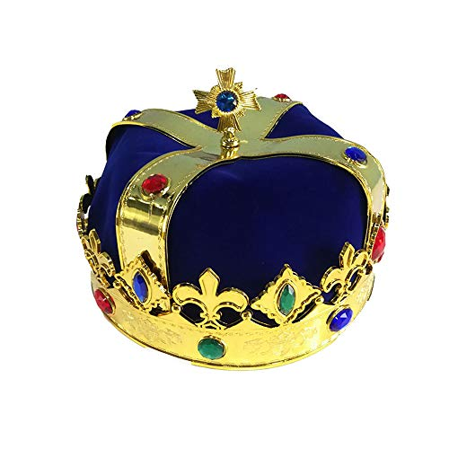 BaronHong Prince King Crown Halloween Festival Show Birthday Party Deco(blue,M) -