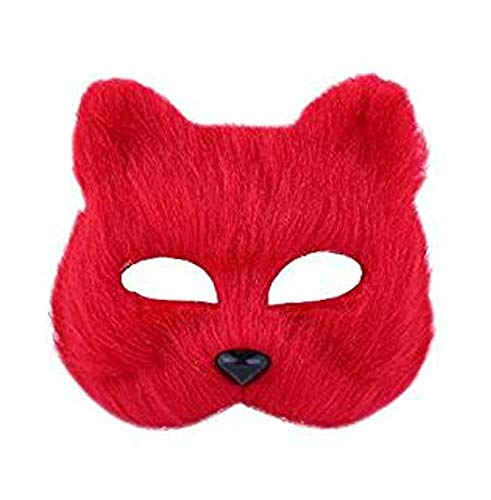 HLHappying701 Halloween Fox Mask Cosplay Costume Half Face Animal Headgear Caps Furry Party Performance Accessory (red) -