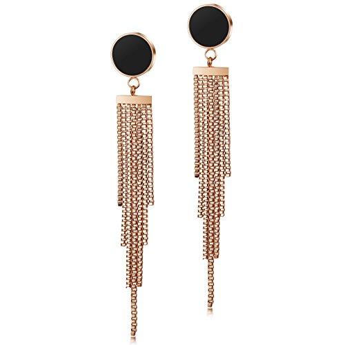 (CIUNOFOR Tassel Earrings for Women Stainless SteelTiered Long Drop Earrings Hypoallergenic Dangle Gold Rose Gold Earrings)