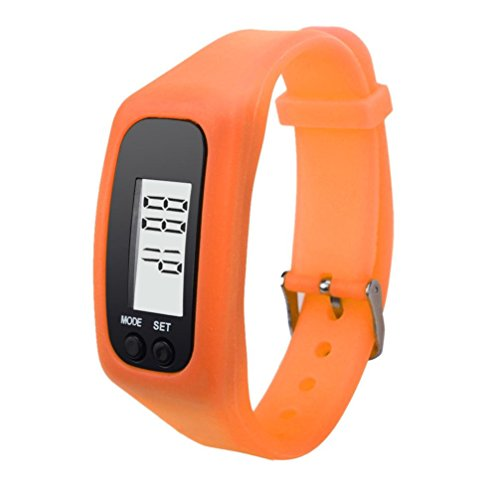 Electric Run Costumes (Sports Watch,FUNIC Digital LCD Pedometer Run Step Walking Distance Calorie Counter Watch (Orange))