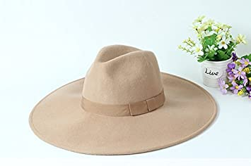 b2e5e549918 Amazon.com   Mxoza - Adult Unisex Black Camel Wool Jazz Hat Men British  Vintage Solid Wide Brim Bow Panama Fedora Hat Male WInter Gray Casual Hats    Kakki   ...