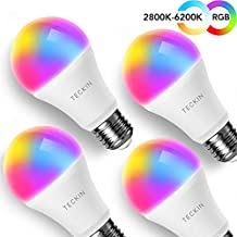 TECKIN Smart LED Bulb WiFi E27 with Soft Light Works with Phone, Google Home (No Hub Required) A19 60W Equivalent RGB Color Changing Bulb (7.5W), with Schedule Function (Not Support 5G WiFi)(4 Pack)