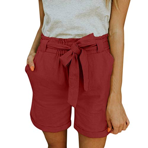 (Beautyfine Beach Shorts Pants Women Casual Elastic Pocket Loose Cotton Linen Solid Scanties Pants Red)