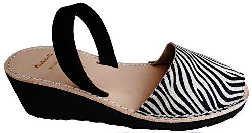 avarcas con Menorquinas Avarcas 8cm Zebra léopard menorquínas tira forme Plate negra et coin 4 Zebra 7qwx17zf