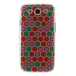 LHY Red and Green Honeycomb Pattern Plastic Protective Hard Back Case Cover for Samsung Galaxy S3 I9300