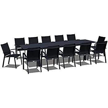 UrbanFurnishing.net   13 Piece Extendable Modern Outdoor Patio Dining Set    Black On Black